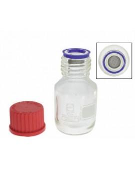 Epilamic glass bottle with pierced basket