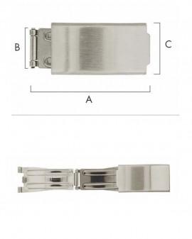 FERMOIR DÉPLOYANT,A 39 - B 17.50 -C20 ACIER INOXYDABLE
