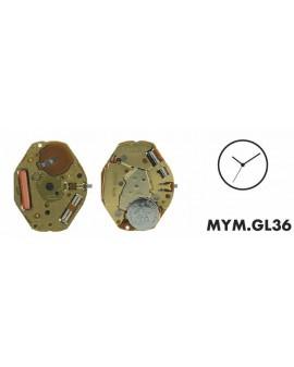 BINNENWERK MIYOTA GL36, 6 3/4x8''', HAUT. 2.28, 3 AIGUI
