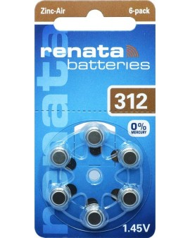 Batterij hooraparaat RENATA AC312:blister de 6 pièces