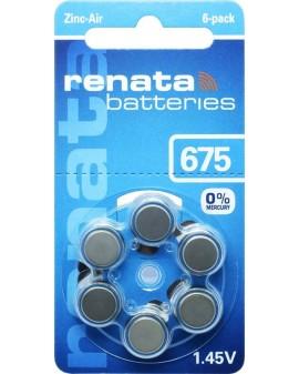 Piles acoustique RENATA AC 675:blister de 6 pièces