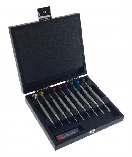 ASSORTMENT OF WATCHMAKER SCREWDRIVERS IN WOODEN CASE, 9